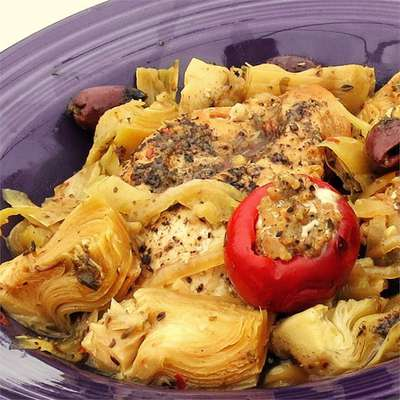 Spicy Mediterranean Chicken with Sausage-Stuffed Cherry Peppers - RecipeNode.com