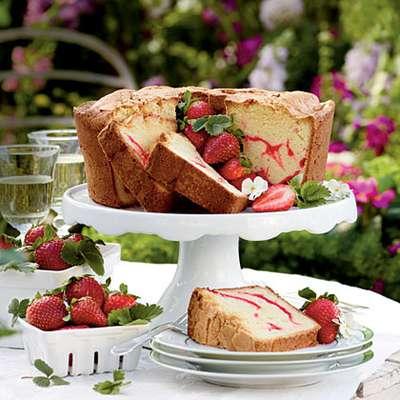 Strawberry Swirl Cream Cheese Pound Cake - RecipeNode.com