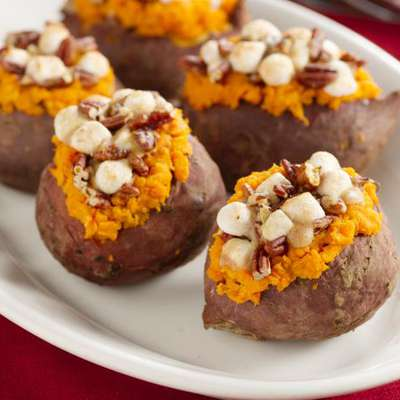 Stuffed Sweet Potatoes with Pecan and Marshmallow Streusel - RecipeNode.com