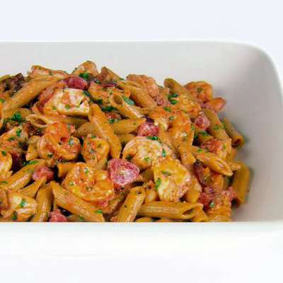Whole Wheat Penne with Lobster and Bacon - RecipeNode.com